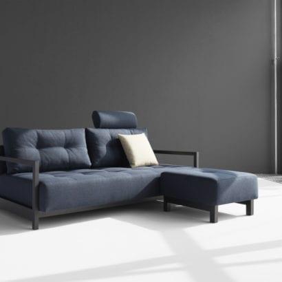 blue sofa bed and foot stool set