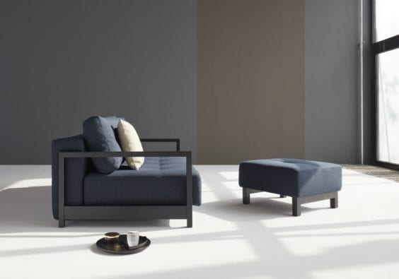 blue sofa bed and foot stool set