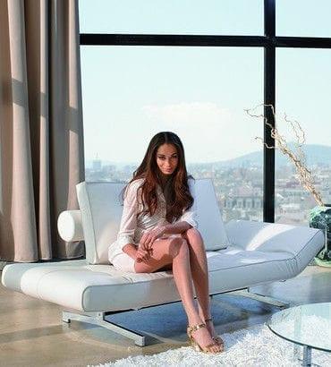 girl on white sofa