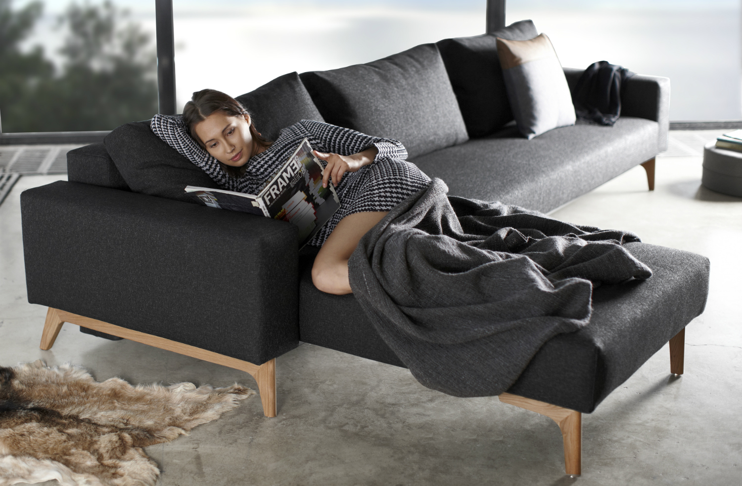 Istyle 2015 Idun Sofa Bed With Lounger 564 Twist Black