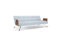 white sofa bed with wooden arms