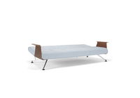 white sofa bed with wood arms