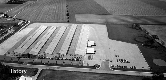 arial shot of warehouses