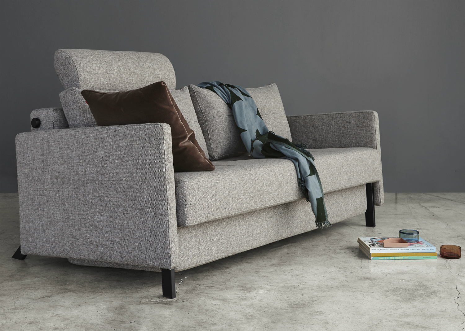 Cubed 160 fabric arm sofa bed innovation living melbourne for Sofa bed 160 x 200