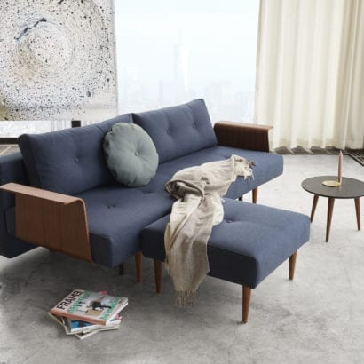 lounge with dark blue sofa