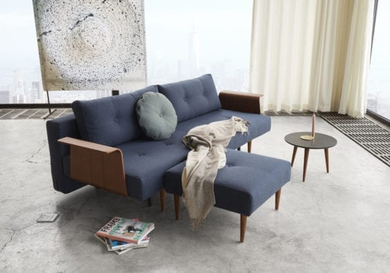 lounge with dark blue sofa