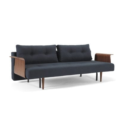 dark blue sofa bed with wooden ends