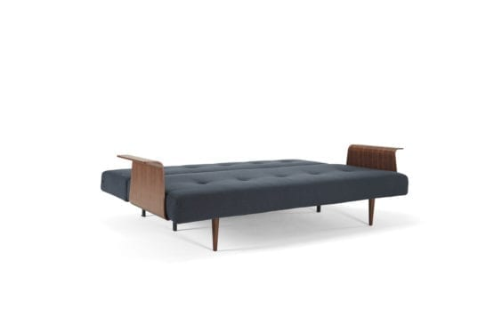 blue sofa bed with wooden arms