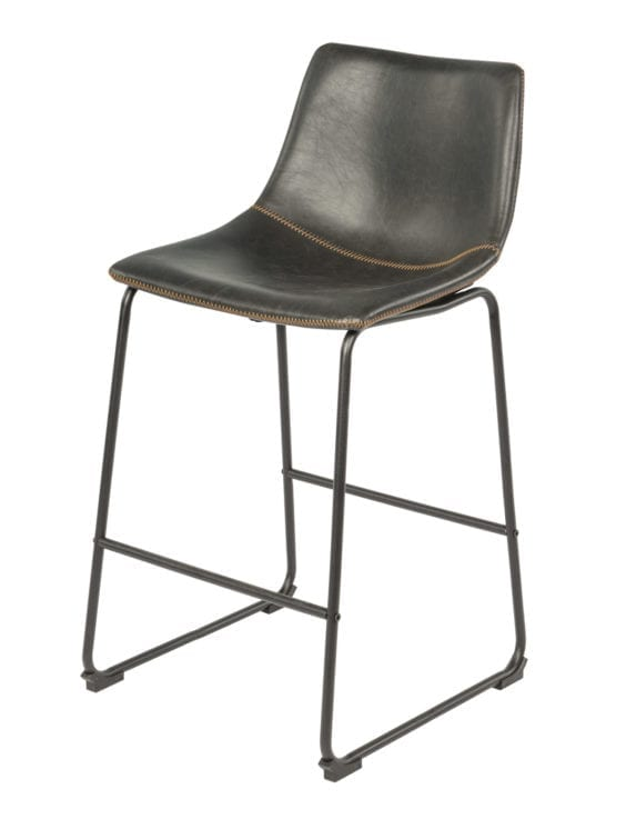 black leather stool