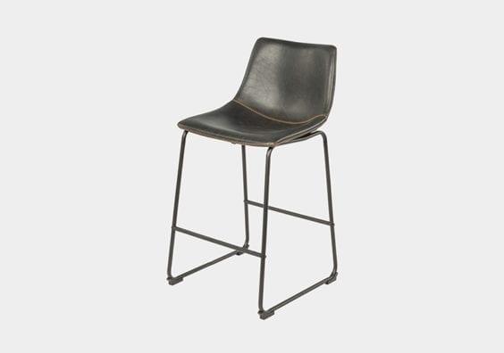 black leather stool