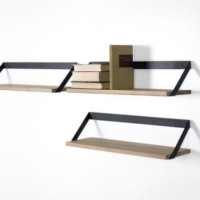 black wooden shelf