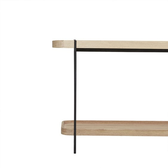 light wood 2 shelf console
