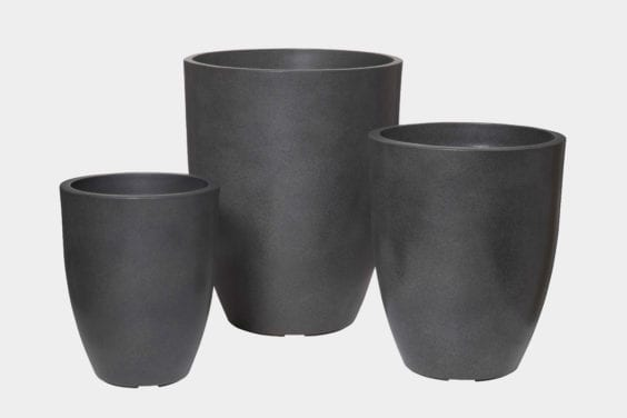 tall black planter pots