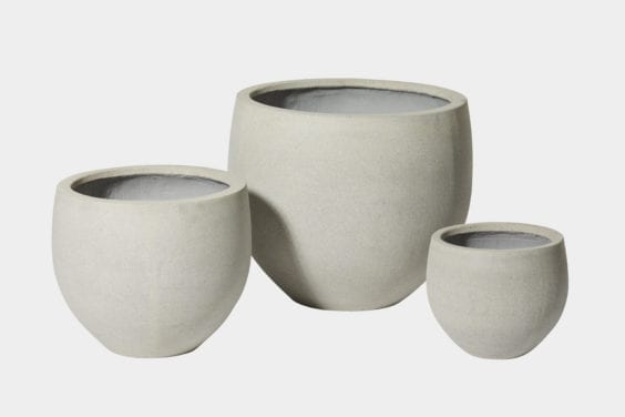 white stone planter pots