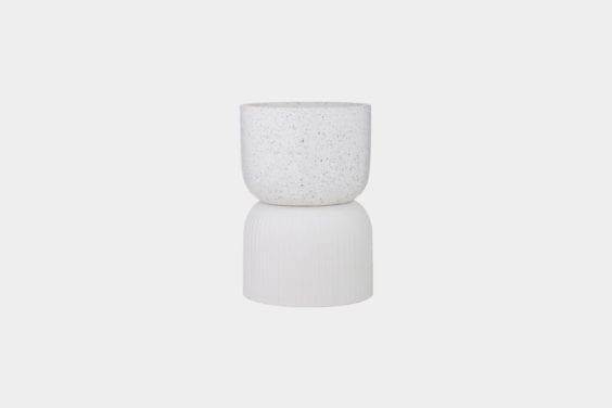 white terrazzo side table