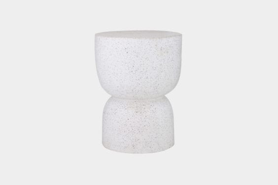 white terrazzo side table